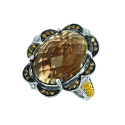 18K Yellow Goldsilver Rhodiumruthenium Finish F Ancy 3.0Mm Ring With 1-20X15 Oval Topdome Ck Flat Bottom Smokey Quartz Trimmed With 24-0.01Ct Brown