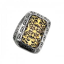 Phillip Gavriel 18K Yellow Gold & Sterling Silver Oxidized Long Rectangular Byz Antine Ring. Size-07. Phillip Gavriel Timeless Byzantine Collection.