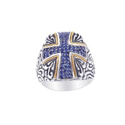 Phillip Gavriel 18K Yellow Gold & Sterling Silver Oxidized Bue Sapphire Cross T Heme Ring. Size-06. Phillip Gavriel Timeless Byzantine Collection.