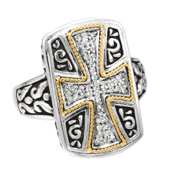 Phillip Gavriel 0.15Ct. Diamond 18K Yellow Gold & Sterling Silver Oxidized Cros S Theme Ring. Size-06. Phillip Gavriel Timeless Byzantine Collection.