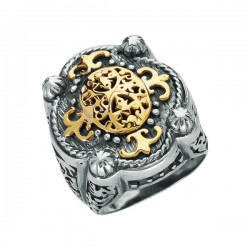 Phillip Gavriel 18K Yellow Gold & Sterling Silver Oxidized Ring. Size-07. Phill Ip Gavriel Timeless Byzantine Collection.