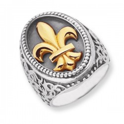 Phillip Gavriel 18K Yellow Gold & Sterling Silver Oval Fleur De Lis Ring. Size- 07. Phillip Gavriel Fleur-De-Lis Collection.