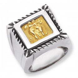 Phillip Gavriel 18K Yellow Gold & Sterling Silver Square Gold Cameo Ring. Size- 06. Phillip Gavriel Cameos Of Venice Collection.