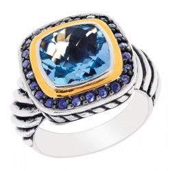 Phillip Gavriel 18K Yellow Gold & Sterling Silver Blue Topazblue Sapphire Ring . Size-06. Phillip Gavriel Next Generation Of Rock Candy Collection.