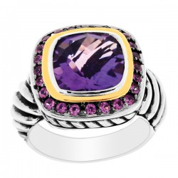 Phillip Gavriel 18K Yellow Gold & Sterling Silver Amethystpink Sapphire Ring. Size-06. Phillip Gavriel Next Generation Of Rock Candy Collection.