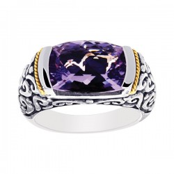 Phillip Gavriel 18K Yellow Gold & Sterling Silver Oxidized Amethyst Graduated B And Like Balinese Ring. Size-07. Phillip Gavriel Timeless Byzantine Collection .