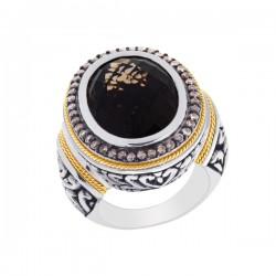 Phillip Gavriel 0.44Ct. Coffee Diamondsmokey Quartz 18K Yellow Gold & Sterling Silver Oxidized Oval Balinese Ring. Size-07. Phillip Gavriel Timeless Byzantin E Collection.