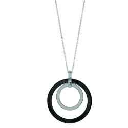 Stainless Steel 11.25 Ext. Rhodium Finish 2 Graduated Circle(Black Ceramicwhite With White St One)Pendant On Oval Bale On 1.53Mm Cable Chain