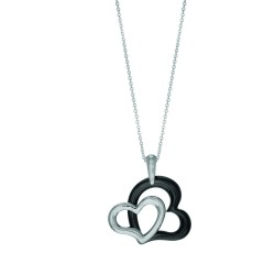 Stainless Steel 11.25 Ext. Rhodium Finish 2 Open(Black Ceramicshiny White )Heart Pendant On Oval Bale On 1.53Mm Cable Chain With Lobster Clasp