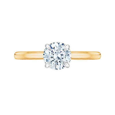 14K Two-Tone Gold Round Cut Diamond Solitaire Engagement Ring (Semi-Mount)