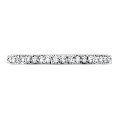 18K White Gold .14 Ct Diamond Carizza  Wedding Band