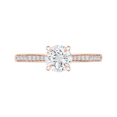 18K Pink Gold 1/5 Ct Round Cut Diamond Engagement Ring (Semi-Mount)