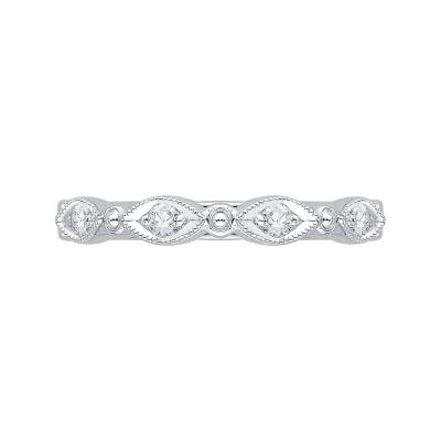 14K White Gold Round Half-Eternity Diamond Wedding Band