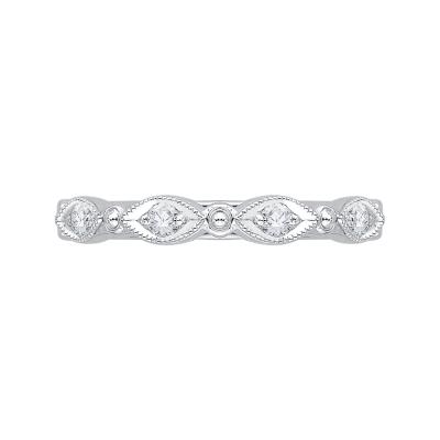 18K White Gold 1/5 Ct Diamond Carizza  Wedding Band