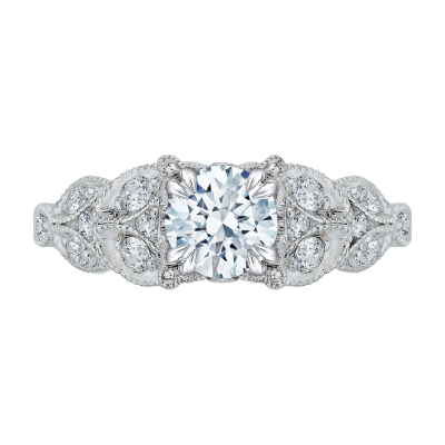 18K White Gold 3/8 Ct Round Cut Diamond Engagement Ring (Semi-Mount)