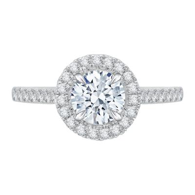 18K White Gold 1/3 Ct Round Cut Diamond Engagement Ring (Semi-Mount)