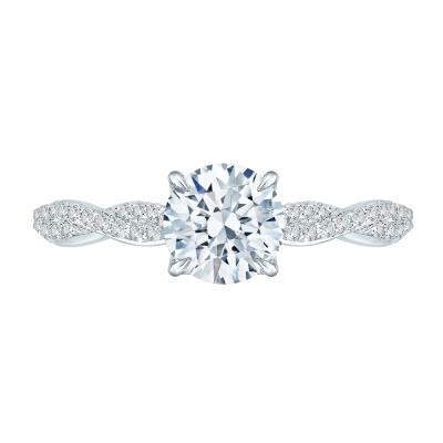 18K White Gold 1/4 Ct Round Cut Diamond Engagement Ring (Semi-Mount)