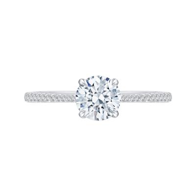 18K White Gold 1/2  Ct Round Cut Diamond Engagement Ring (Semi-Mount)