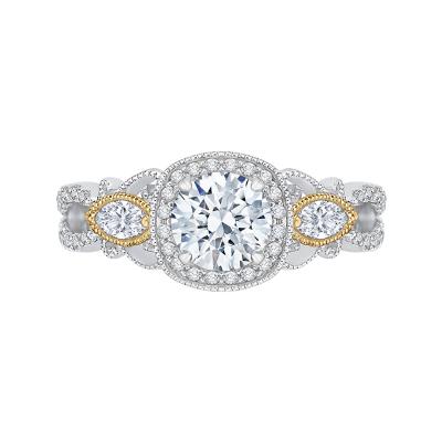 18K Tow-Tone 2/3  Ct Round Cut Diamond Engagement Ring (Semi-Mount)