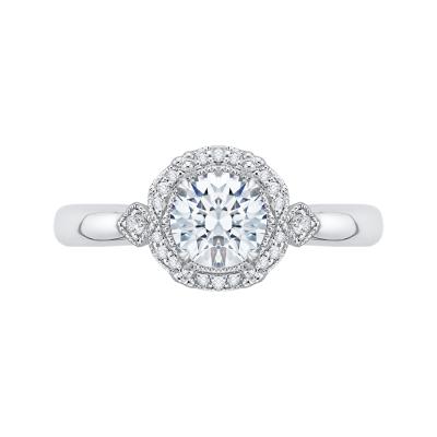 18K White Gold .10 Ct Round Cut Diamond Engagement Ring (Semi-Mount)