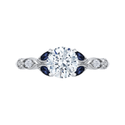 18K White Gold  1/5 Ct Round Cut Diamond Engagement Ring (Semi-Mount)