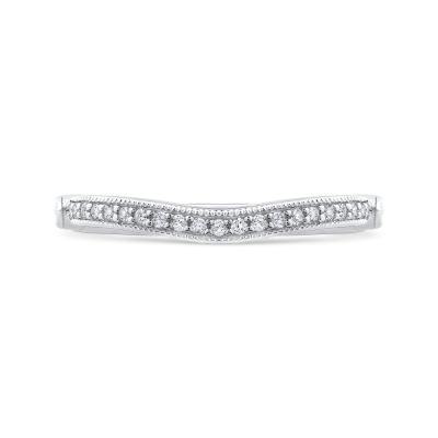14K White Gold .15 Ct Diamond Carizza  Wedding Band