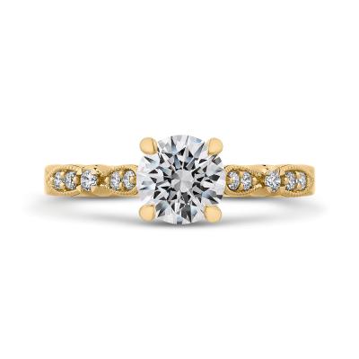 14K Yellow Gold .13 Ct Round Cut Diamond Engagement Ring (Semi-Mount)