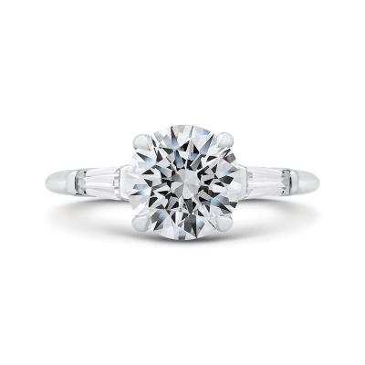 14K White Gold 1/5 Ct Round Cut Diamond Engagement Ring (Semi-Mount)