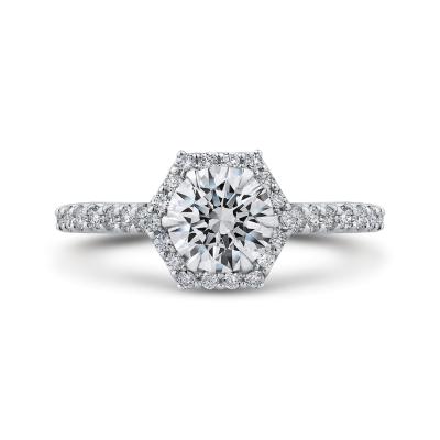 14K White Gold 1/2 Ct Round Cut Diamond Engagement Ring (Semi-Mount)