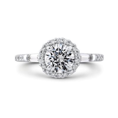 14K White Gold 1/4 Ct Round Cut Diamond Engagement Ring (Semi-Mount)