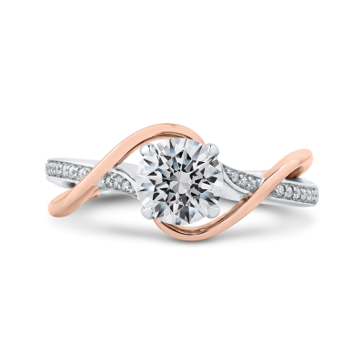 14K Two-Tone Gold .08 Ct Round Cut Diamond Engagement Ring (Semi-Mount)