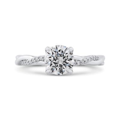 14K White Gold .08 Ct Round Cut Diamond Engagement Ring (Semi-Mount)