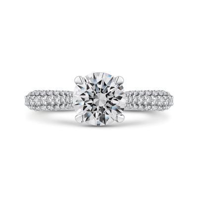 14K White Gold 3/8 Ct Round Cut Diamond Engagement Ring (Semi-Mount)