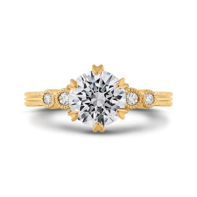 18K Yellow Gold Round Cut Diamond Engagement Ring (Semi-Mount)