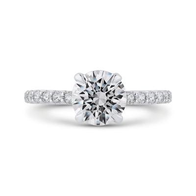 18K Two-Tone Gold Round Diamond Engagement Ring (Semi-Mount)