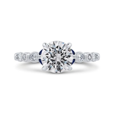14K White Gold Round Diamond Engagement Ring with Sapphire (Semi-Mount)