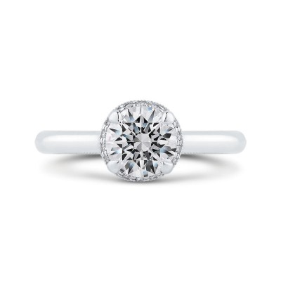18K White Gold Round Diamond Engagement Ring (Semi-Mount)