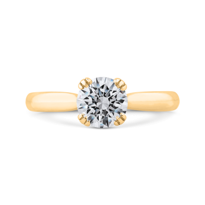 14K Yellow Gold Solitaire Engagement Ring (Semi-Mount)