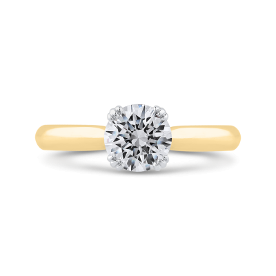 14K Two Tone Gold Diamond Engagement Ring (Semi-Mount)
