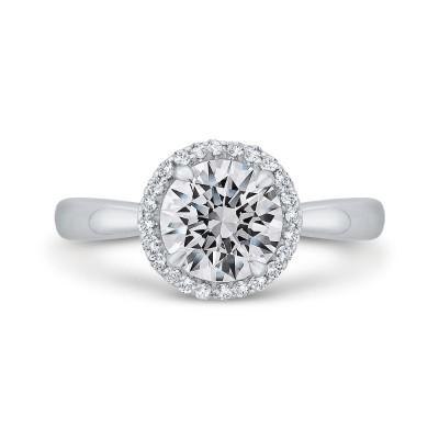 14K White Gold Diamond Halo Engagement Ring (Semi-Mount)