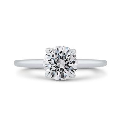 14K White Gold Round Diamond Solitaire Plus Engagement Ring with Milgrain (Semi-Mount)