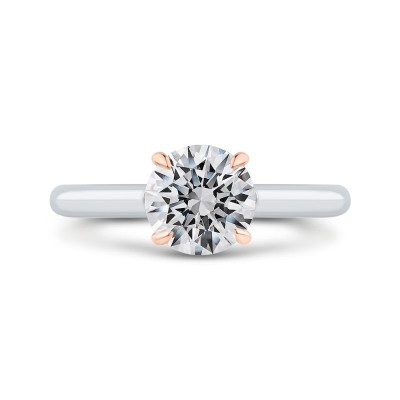 14K Two-Tone Gold Round Diamond Solitaire Plus Engagement Ring with Milgrain (Semi-Mount)