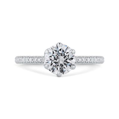 14K White Gold Round Cut Diamond Solitaire Plus Engagement Ring (Semi-Mount)
