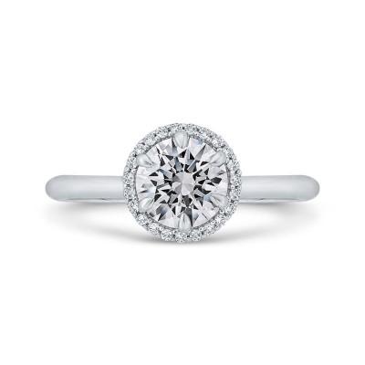 14K White Gold Round Cut Diamond Halo Engagement Ring (Semi-Mount)