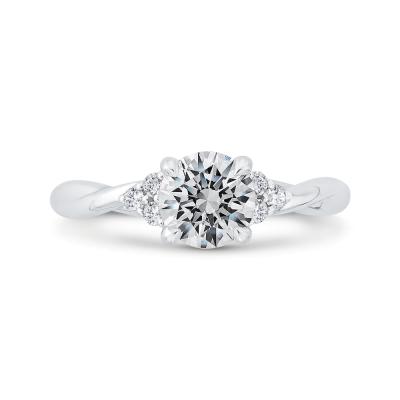 14K White Gold Round Cut Diamond Engagement Ring (Semi-Mount)