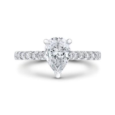 18K White Gold Pear Diamond Engagement Ring (Semi-Mount)