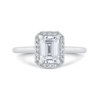 14K White Gold Emerald Cut Diamond Halo Engagement Ring (Semi-Mount)