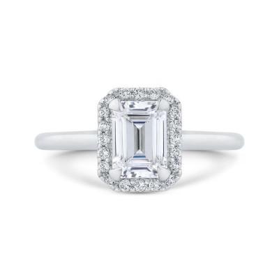 18K White Gold Emerald Cut Diamond Halo Engagement Ring (Semi-Mount)