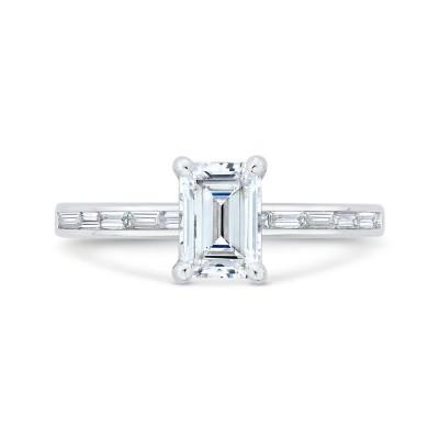 14K White Gold Emerald Cut Diamond Solitaire Plus Engagement Ring (Semi-Mount)