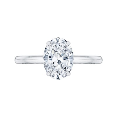 14K White Gold Oval Cut Diamond Solitaire Engagement Ring (Semi-Mount)